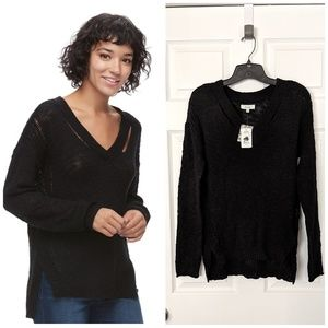 V-Neck Loose Knit Sweater Tunic
